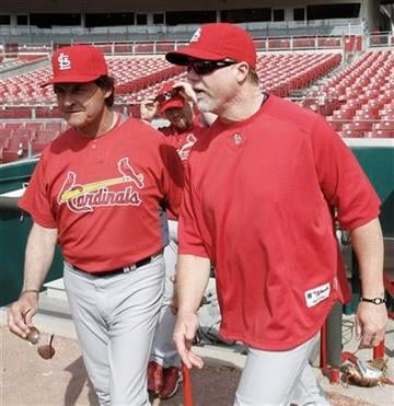 St. Louis Cardinals manager Tony LaRussa, left, waks onto the field with batting coach Mark McGwire prior to their opening day baseball game against the Cincinnati Reds, Monday, April 5, 2010, in Cincinnati. (AP Photo/Al Behrman) By Al Behrman