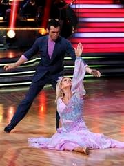 "In this image released by ABC, Kate Gosselin, right, and her partner Tony Dovolani compete in the celebrity dance competition series, ""Dancing with the Stars,"" Monday, April 19, 2010 in Los Angeles. (AP Photo/ABC, Adam Larkey) By Adam Larkey"