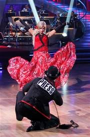 "In this publicity image released by ABC, Kate Gosselin and her partner Tony Dovolani perform on ""Dancing with the Stars,"" Monday, April 5, 2010 in Los Angeles. (AP Photo/ABC, Adam Larkey) By Adam Larkey"