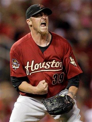 Houston Astros starting pitcher Brett Myers reacts after striking out St. Louis Cardinals' Skip Schumaker with two men on to end the seventh inning of a baseball game Wednesday, April 14, 2010, in St. Louis. (AP Photo/Jeff Roberson) By Jeff Roberson
