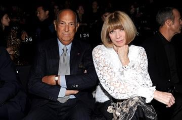 NEW YORK, NY - OCTOBER 24:  Designer Oscar de la Renta (L) and Anna Wintour attend Giorgio Armani One Night Only NYC at SuperPier on October 24, 2013 in New York City.  (Photo by Dimitrios Kambouris/Getty Images for Giorgio Armani) By Dimitrios Kambouris