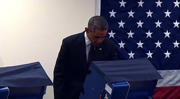President Obama votes in 2014 Illinois election. By Stephanie Baumer
