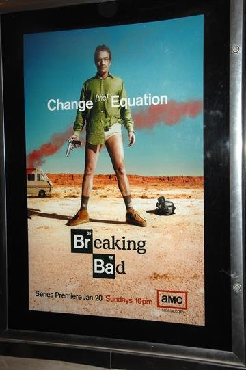 """CULVER CITY, CA - JANUARY 15:  The show's poster is seen at the premiere of AMC's """"Breaking Bad"""" at Sony Pictures Studios on January 15, 2008 in Culver City, California.  (Photo by Stephen Shugerman/Getty Images) By Stephen Shugerman"""