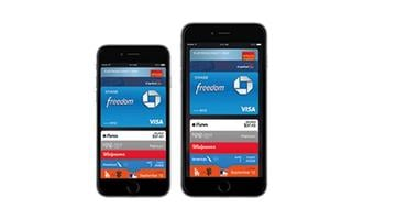 A publicity photo of the Apple Pay interface as shown on the iPhone 6. Apple Pay launched on October 20, 2014. By Stephanie Baumer
