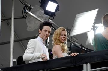 HOLLYWOOD, CA - MARCH 02:  TV Personalities Johnny Weir (L) and Tara Lipinski attend the Oscars held at Hollywood & Highland Center on March 2, 2014 in Hollywood, California.  (Photo by Kevork Djansezian/Getty Images) By Kevork Djansezian