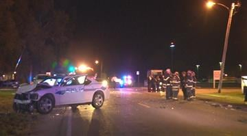 Illinois State Police say the crash occurred between a police car and another vehicle in the 5800 block of Bond Avenue around 10:40 p.m. By Stephanie Baumer