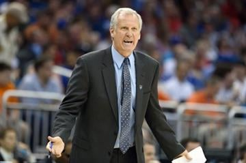 College Basketball: NCAA Playoffs: Saint Louis coach Jim Crews during game vs Louisville at Amway Arena