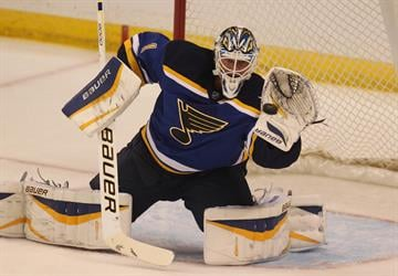 St. Louis Blues goaltender Brian Elliott eyes a shot on goal in the first period against the  Columbus Blue Jackets at the Scottrade Center in St. Louis on September 25, 2014. UPI/BIll Greenblatt By BILL GREENBLATT
