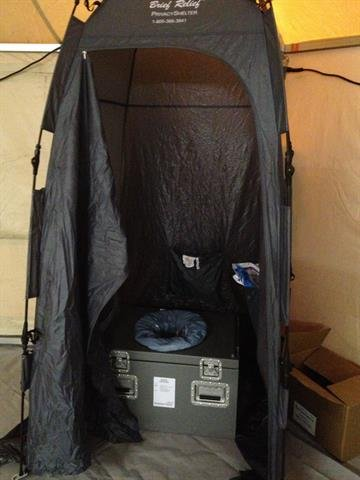 """Woman quarantined in NJ hospitalKaci Hickox,a nurse under mandatory quarantine for Ebola monitoring in New Jersey, sent CNN this image of the """"porta potty"""" inside the facility where she is being isolated in a New Jersey Hospital. By Courtesy Kaci Hickox"""