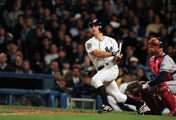 26 Oct 1999: Chad Curtis #28 of the New York Yankees hit the winning home run during the World Series Game three against the Atlanta Braves at Yankee Stadium in the Bronx, New York. The Yankees defeated the Braves 6-5. By Al Bello