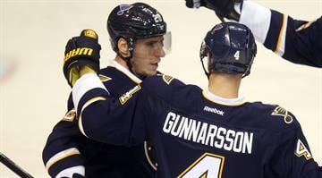 St. Louis Blues Alexander Steen is congratulated after scoring a goal against the Anaheim Ducks in the first period at the Scottrade Center in St. Louis on October 30, 2014. UPI/Bill Greenblatt