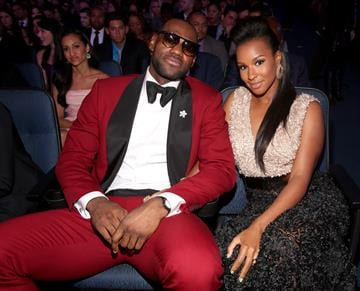 LOS ANGELES, CA - JULY 17:  NBA player LeBron James (L) and Savannah Brinson attend The 2013 ESPY Awards at Nokia Theatre L.A. Live on July 17, 2013 in Los Angeles, California.  (Photo by Christopher Polk/Getty Images for ESPY) By Christopher Polk