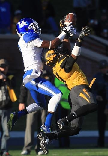 Missouri Tigers Aarion Penton breaks up a pass intended for Kentucky Wildcats Demarco Robinson in the third quarter at Faurot Field in Columbia, Missouri on November 1, 2014. UPI/Bill Greenblatt By BILL GREENBLATT