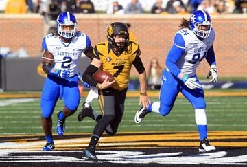 Missouri Tigers quarterback Maty Mauk outruns the Kentucky Wildcats defense in the first quarter at Faurot Field in Columbia, Missouri on November 1, 2014. Missouri defeated Kentucky 20-10.  UPI/Bill Greenblatt By BILL GREENBLATT