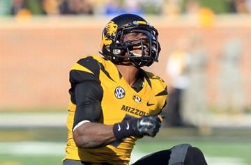 Missouri Tigers Kenya Dennis yells out after stopping the Kentucky Wildcats run in the first quarter at Faurot Field in Columbia, Missouri on November 1, 2014. Missouri defeated Kentucky 20-10.   UPI/Bill Greenblatt By BILL GREENBLATT
