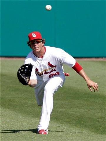 St. Louis Cardinals center fielder Colby Rasmus (28) prepares to catch a fly ball during a spring training baseball game against the Minnesota Twins Saturday, March 12, 2011, in Jupiter, Fla. (AP Photo/Carlos Osorio) By Carlos Osorio