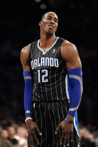 Orlando Magic center Dwight Howard reacts after being called for a foul in the first half of an NBA basketball game against the Los Angeles Lakers, Monday, March 14, 2011, in Los Angeles. (AP Photo/Gus Ruelas) By Gus Ruelas