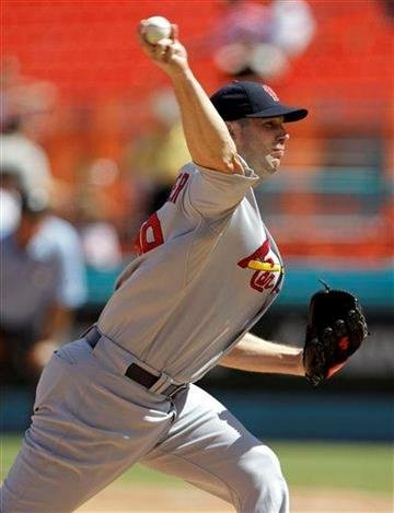 St. Louis Cardinals' Chris Carpenter throws in the first inning during a baseball game against the Florida Marlins in Miami, Monday, Sept. 20, 2010. (AP Photo/Lynne Sladky) By Lynne Sladky