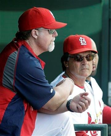St. Louis Cardinals batting coach Mark McGwire, left, and manager Tony La Russa are seen during the first inning of a spring training baseball game against the Atlanta Braves, Tuesday, March 15, 2011, in Jupiter, Fla. (AP Photo) By KMOV Web Producer