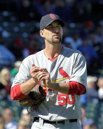 St. Louis Cardinals starting pitcher Adam Wainwright looks up at the scoreboard during the third inning of a baseball game against the Chicago Cubs Friday, Sept. 24, 2010 at Wrigley Field in Chicago. (AP Photo/Charles Rex Arbogast) By Charles Rex Arbogast