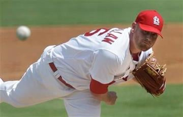 St. Louis Cardinals pitcher Kyle McClellan throws during the second inning of a spring training baseball game against the Atlanta Braves, Tuesday, March 15, 2011, in Jupiter, Fla. (AP Photo) By KMOV Web Producer