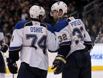 St. Louis Blues center T.J. Oshie, left, and teammate Chris Porter celebrate after Oshie scored during the third period of their NHL hockey game, Thursday, March 17, 2011, in Los Angeles. The Blues won 4-0. (AP Photo/Jason Redmond) By Jason Redmond