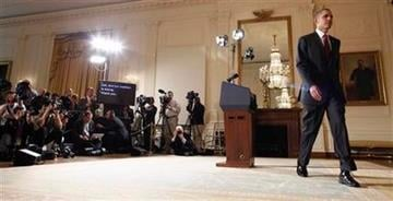 President Barack Obama leaves the podium after making a statement about Libya, Friday, March 18, 2011, in the East Room of the White House in Washington. (AP Photo) By Lakisha Jackson