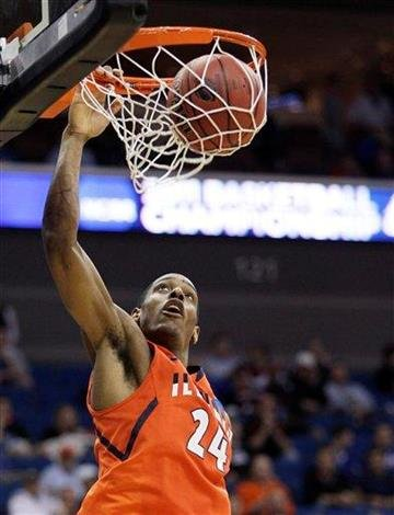 Illinois forward Mike Davis dunks against UNLV in the second half of a Southwest Regional NCAA tournament second round college basketball game, Friday, March 18, 2011 in Tulsa, Okla. (AP Photo/Charlie Riedel) By Charlie Riedel