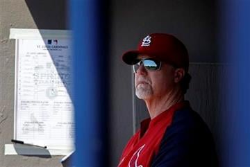 St. Louis Cardinals batting coach and former player Mark McGwire, looks out from the dugout during a spring training baseball game against the Washington Nationals Friday, March 18, 2011 in Viera, Fla. (AP Photo/David Goldman) By David Goldman