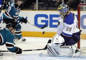 San Jose Sharks' Joe Pavelski (8) shoots on goal against St. Louis Blues goalie Ty Conklin (29) during the second period of an NHL hockey game Saturday, March 19, 2011, in San Jose, Calif. (AP Photo/Ben Margot) By Ben Margot