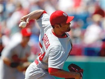 St. Louis Cardinals starting pitcher Jaime Garcia throws a pitch in the first inning of a spring training baseball game against the Washington Nationals Friday, March 18, 2011 in Viera, Fla. (AP Photo/David Goldman) By David Goldman