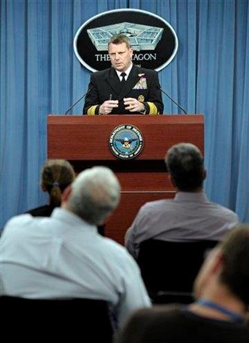 Navy Vice Adm. Bill Gortney, director of the Joint Staff, gives an operational update concerning Libya, at the Pentagon in Washington, Sunday, March 20, 2011. (AP Photo/Cliff Owen) By Cliff Owen
