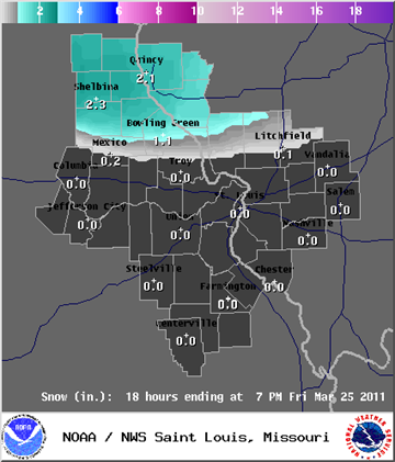 Snow Forecast for Friday as of 9:30 AM, Thursday, March 21 By Matt Chambers