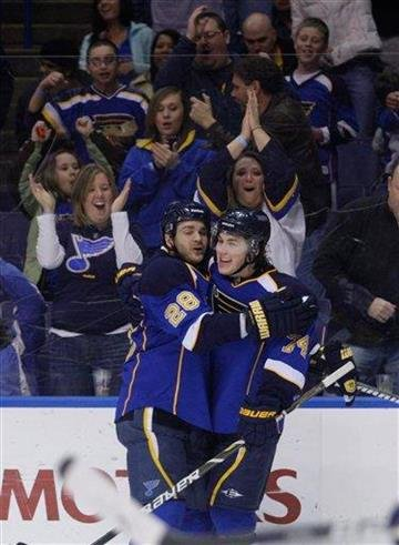 St. Louis Blues' T.J. Oshie (74) celebrates with teammate Carlo Colaiacovo (28) after scoring in the second period of an NHL hockey game against the Edmonton Oilers, Thursday, March 24, 2011 in St. Louis.(AP Photo/Tom Gannam) By Tom Gannam
