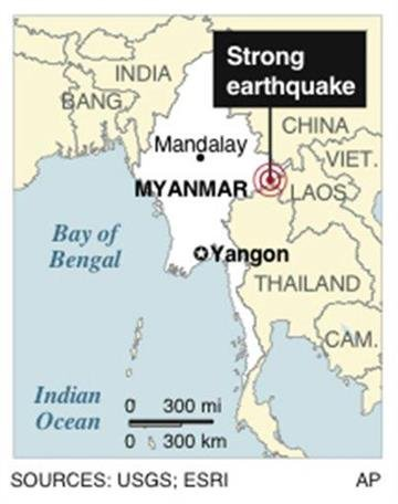 Map locates strong earthquake in Myanmar By P. Santilli