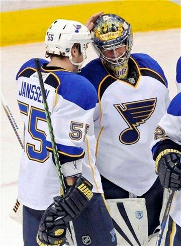 St. Louis Blues' Ty Conklin, right, is congratulated by Cam Janssen after the Blues beat the Minnesota Wild 6-3 in an NHL hockey game, Saturday, March 26, 2011, in St. Paul, Minn. AP Photo/Jim Mone) By Jim Mone