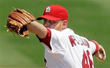 St. Louis Cardinals starting pitcher Kyle McClellan throws during the second inning of a spring training baseball game against the New York Mets, Sunday, March 27, 2011, in Jupiter, Fla. (AP Photo/Carlos Osorio) By Carlos Osorio