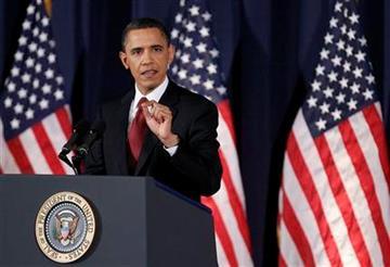 President Barack Obama delivers his address on Libya at the National Defense University in Washington, Monday, March 28, 2011.    (AP Photo/Manuel Balce Ceneta) By Manuel Balce Ceneta