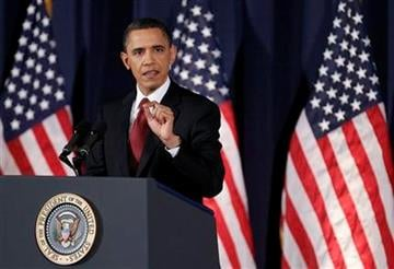 President Barack Obama delivers his address on Libya at the National Defense University in Washington, Monday, March 28, 2011.    (AP Photo/Manuel Balce Ceneta) By Manuel Balce Ceneta
