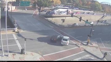 Images from video of a two-car accident at the intersection of Memorial Drive and Walnut Street in downtown St. Louis, November 7, 2013.  (KMOV.com) By Bryce Moore