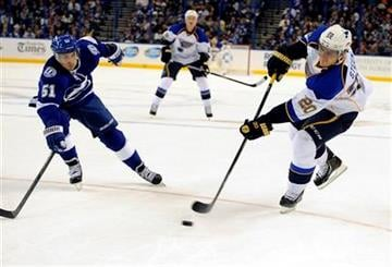 St. Louis Blues left wing Alexander Steen, right, takes a shot against Tampa Bay Lightning center Valtteri Filppula, of Finland, during the first period of an NHL hockey game Saturday, Nov. 2, 2013, in Tampa, Fla. (AP Photo/Brian Blanco) By Brian Blanco