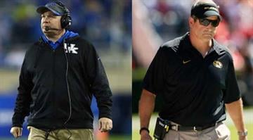 Mark Stoops (left) and Gary Pinkel (right) are facing each other for the first time as head coaches