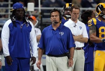 St. Louis Rams head football coach Jeff Fisher watches the final moments of a game against the  Tennessee Titans at the Edward Jones Dome in St. Louis on November 3, 2013. Tennessee won the game 28-21.     UPI/Bill Greenblatt By BILL GREENBLATT
