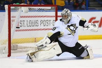 ST. LOUIS, MO - NOVEMBER 9: Marc-Andre Fleury #29 of the Pittsburgh Penguins makes a save against the St. Louis Blues at the Scottrade Center on November 9, 2013 in St. Louis, Missouri.  (Photo by Dilip Vishwanat/Getty Images) By Dilip Vishwanat