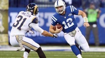 INDIANAPOLIS, IN - NOVEMBER 10:  Andrew Luck #12 of the Indianapolis Colts runs with the ball during the game against the St. Louis Rams at Lucas Oil Stadium on November 10, 2013 in Indianapolis, Indiana.  (Photo by Andy Lyons/Getty Images) By Andy Lyons