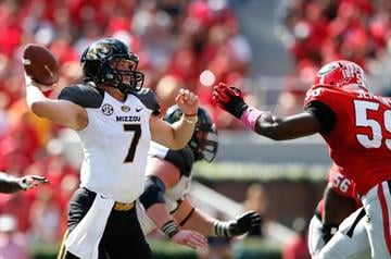 ATHENS, GA - OCTOBER 12:  Maty Mauk #7 of the Missouri Tigers passes against Jordan Jenkins #59 of the Georgia Bulldogs at Sanford Stadium on October 12, 2013 in Athens, Georgia.  (Photo by Kevin C. Cox/Getty Images) By Kevin C. Cox