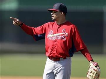 St. Louis Cardinals shortstop Rafael Furcal gestures during spring training baseball, Tuesday, Feb. 19, 2013, in Jupiter, Fla. (AP Photo/Julio Cortez) By Julio Cortez
