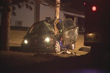 Crews on the scene of a one-car accident in St. Charles County Monday morning. By KMOV