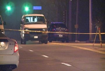 Crews investigating the scene where a pedestrian was hit and killed Tuesday night. By KMOV