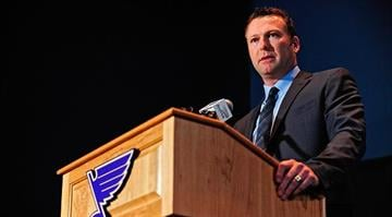 ST. LOUIS, MO - JANUARY 29: Martin Brodeur of the St. Louis Blues talks with the media at a press conference to announce his retirement at Scottrade Center on January 29, 2015 in St. Louis, Missouri. (Photo by Jeff Curry/Getty Images) By Jeff Curry